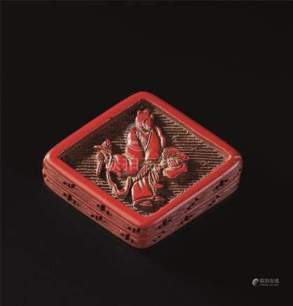 明代(1368-1644) 剔红人物纹菱形香盒
