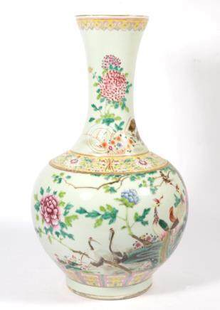 A Chinese famille rose bottle vase, bearing seal mark, 40cm high