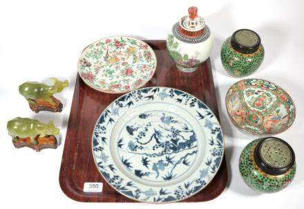 A tray including a small Chinese Canton bowl; an early 20th century polychrome decorated jar and