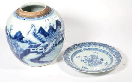 An early 20th century Chinese blue and white ginger jar decorated with landscapes (cover lacking);
