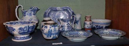A pair of Chinese export porcelain soup plates; two crackle glaze ginger jars; and a quantity of