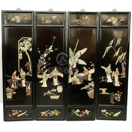 Set of Four Vintage Chinese Hardstone Wood Panels