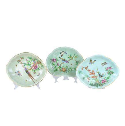Three (3) Chinese Celadon Glazed Export Dishes