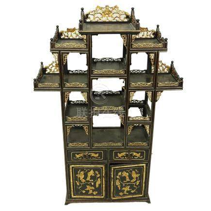 Mid Century Chinese Wood Carved and Pierced Eterge