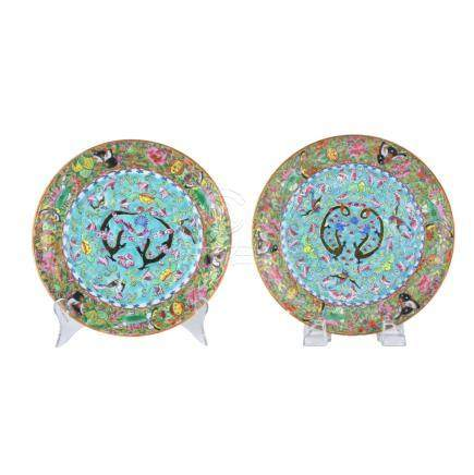 Pair of Antique Chinese Rose Canton Export Plates