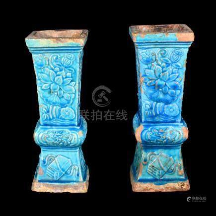 Chinese Turquoise Glazed Vases