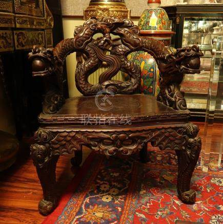 Antique Chinese Carved Hardwood Throne Chair