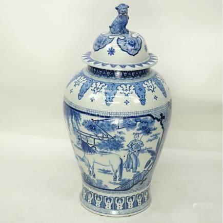 Lg Mid Century Chinese Blue & White Porcelain Urn