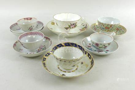 A group of English and Chinese porcelain cups, saucers and dishes, 18th and 19th century,