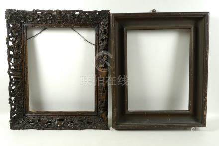 A Chinese hardwood carved picture frame, early 19th century,