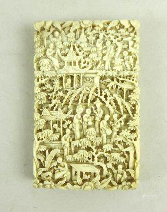A Chinese Canton ivory card case, circa 1880,