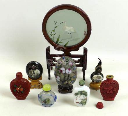 A group of Chinese scent bottles, mid to late 20th century, one glass reverse painted, 5.