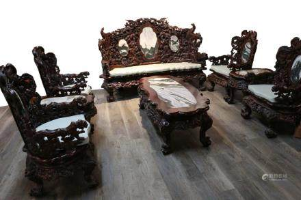 A SET OF EIGHT PIECES SUANZHI WOOD FURNITURE