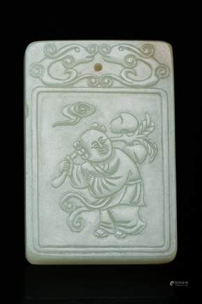CARVED 'LOTUS' JADE PLAQUE, QING