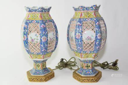 Pair of Republic Chinese Famille Rose Lamps