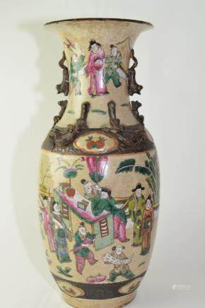 Late Qing Chinese Faux Ge Glaze Famille Rose Vase