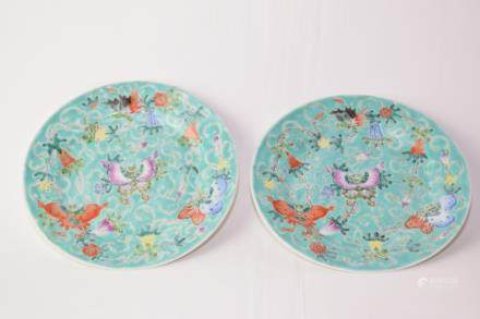 Pair of Late Qing Chinese Famille Rose MaoDie Plates