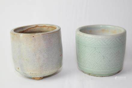 Chinese Longquan Glaze and Faux Jun Glaze Censers