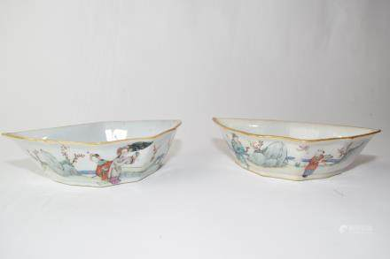 Pair of Late Qing Chinese Famille Rose Bowls