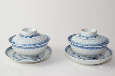 Pair of Late Qing Chinese Blue and White Covered Bowls