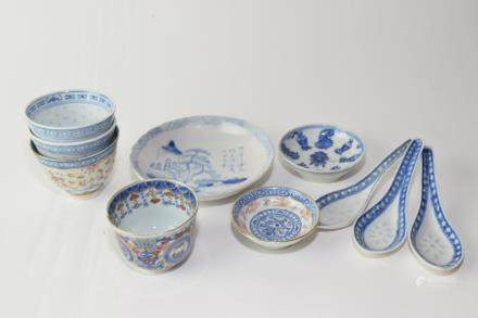 Group of Late Qing Chinese Blue and White Dinner Wares