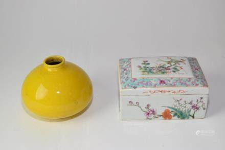 Republic Chinese Famille Rose Box and Yellow Glaze Jar