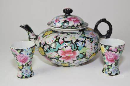 Set of Republic Chinese Famille Noir Tea Ware