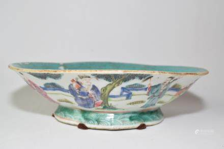 Late Qing Chinese Famille Rose Eight Deities Bowl