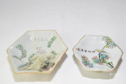 Two Late Qing Chinese Famille Verte High-foot Plates