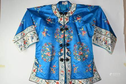 Chinese Blue Embroidered Robe