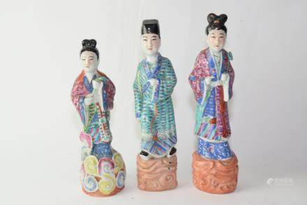 Three Republic Chiense Famille Rose Figures