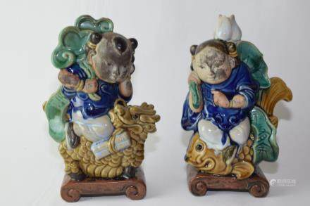 Pair of Republic Chinese ShiWan Pottery Figures