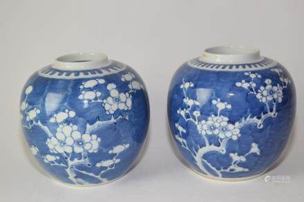 Pair of Late Qing Chinese Blue and White Plum Jars