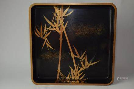 Japanese Black Lacquer Tray