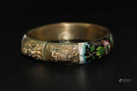 Chinese cloisonne on silver bangle.
