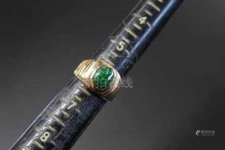 14K gold and jadeite ring.