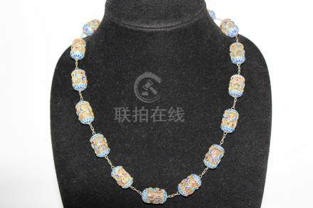 Chinese silver filigree beads necklace.