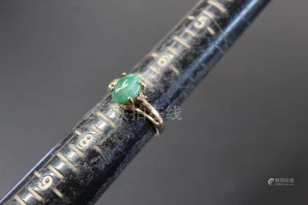 10K gold and jadeite ring