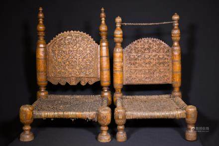 PAIR OF A SMALL CHAIRS - AFGHANISTAN - LATE 19th CENTURY