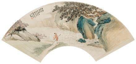 吴榖祥(1848~1903) 听松图 镜心 设色纸本