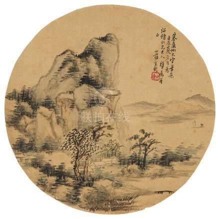 金心兰(1793~1866) 1832年作 秋景 镜心 设色绢本