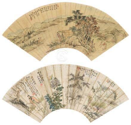 张曜 陈文伯 楚江听瑟 隔景人物山水 镜心 设色金笺纸本、设色纸本