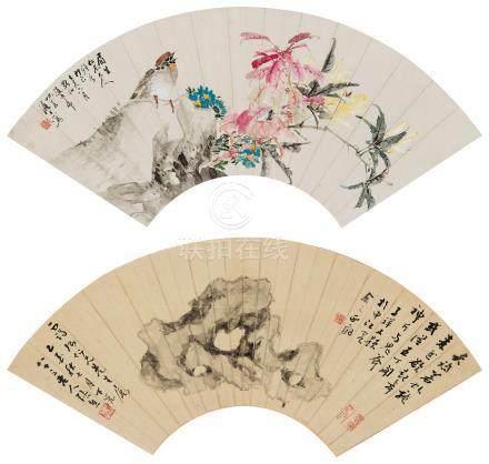 张熊 赵如虎 玲珑石 花石小鸟 镜心 水墨纸本、设色纸本