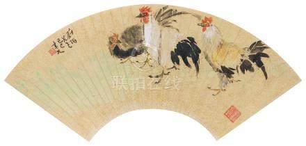 张聿光(1885~1968) 1929年作 大吉图 镜心 设色金笺纸本