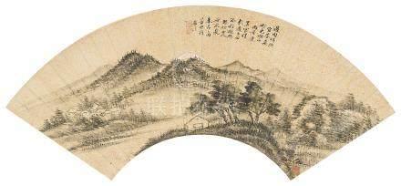 朱昂之(1764~1841) 1832年作 湖山雨景 立轴 水墨洒金纸本