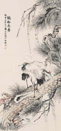 陆恢(1851~1920) 1896年作 鹤龄长寿 立轴 设色纸本