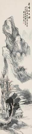 胡公寿(1823~1886) 奇峰古木图 立轴 设色纸本