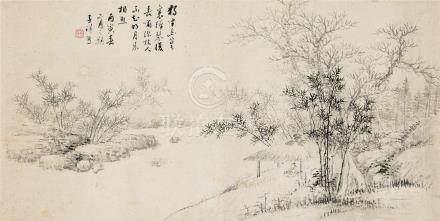 张熊(1803~1886) 1868年作 独坐幽篁里 镜心 水墨纸本