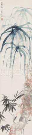 胡若思(1916~2004) 双清 立轴 设色纸本