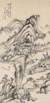 姚钟葆(?~1924) 1920年作 山水 立轴 设色纸本